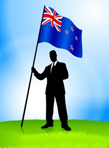 Businessman Leader Holding New Zealnd Flag